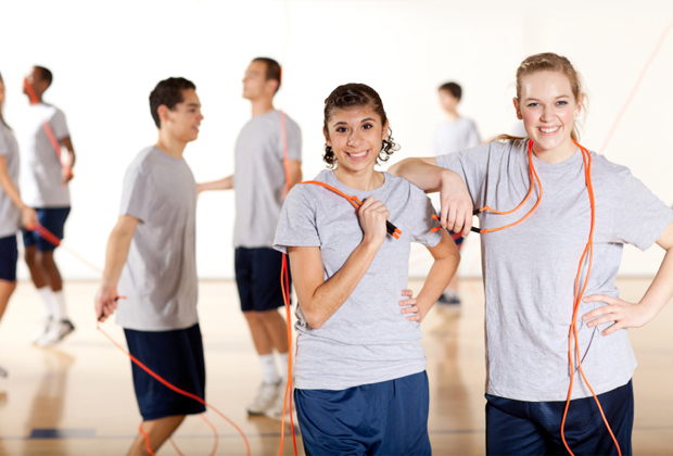 Young teen getting fit necessary words